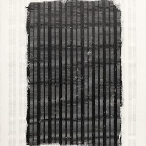 """""""Proceso V"""", 2013, Serie: Procesos, Grapas sobre papel de algodón, 57 x 76 cm."""