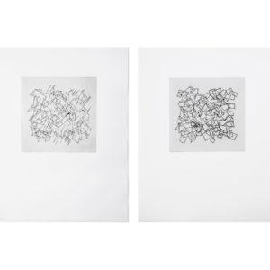 «Sin Titulo I, II, III, IV», 2017, Serie: Paisajes Blancos, Grabado: Punta Seca sobre papel de algodón, 34 x 43 cm.