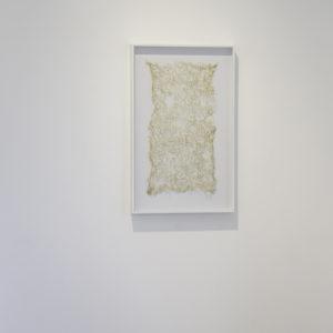 «Sin Título», 2016, Serie: Sin Título, Bordado a mano con hilo de plata y transparente, 30 x 60 cm.