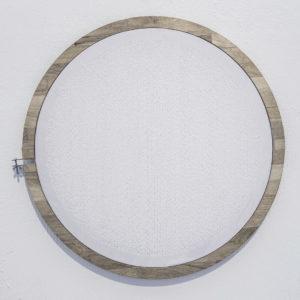 """""""Sin Título"""", 2017, Serie: Sin Título, Bordado a mano con hilo de plata y transparente, 54 cm. (diámetro)"""
