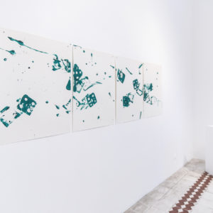 «Pintura verde I, II, III, IV», 2018, Series: Dibujos combinados, Acrílico sobre papel, 57 x 76 cm (76 x 228 cm).