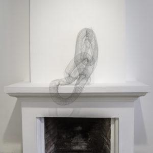 """""""Sin Titulo V"""", 2017, Serie: Sin Titulo, Metal tejido a mano con telar, Dimensiones variables, 30 x 100 cm. (9cm diámetro)"""