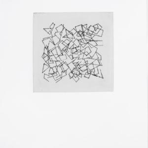 «Sin Titulo I», 2017, Serie: Paisajes Blancos, Grabado: Punta Seca sobre papel de algodón, 34 x 43 cm.