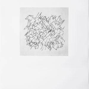 «Sin Titulo II», 2017, Serie: Paisajes Blancos, Grabado: Punta Seca sobre papel de algodón, 34 x 43 cm.