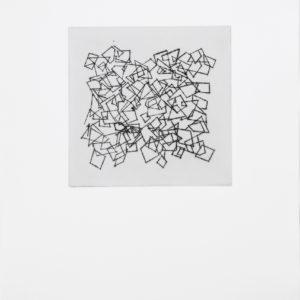 «Sin Titulo III», 2017, Serie: Paisajes Blancos, Grabado: Punta Seca sobre papel de algodón, 34 x 43 cm.