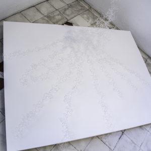 «Sin Título II», 2017, Serie: Paisajes Blancos, Plástico transparente, Dimensiones variables, 45 x 100 x 80 cm.
