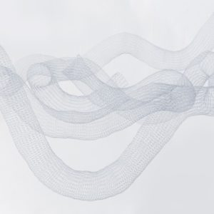 """""""Sin Título III"""", 2015, Serie: Sin Título, Metal tejido a mano con telar, Dimensiones variables, 110 x 110 x 80 cm."""